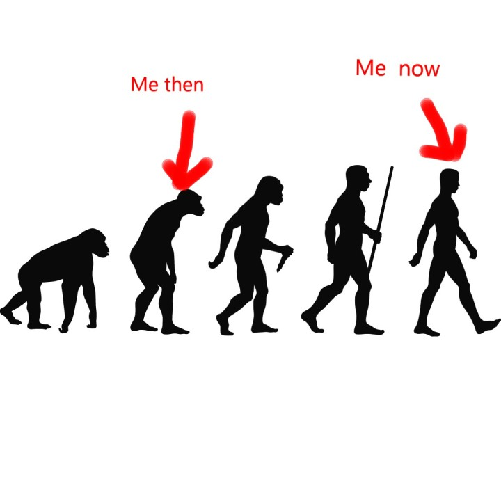 Evolution of man showing my recovery (two legs good four leg bad!)